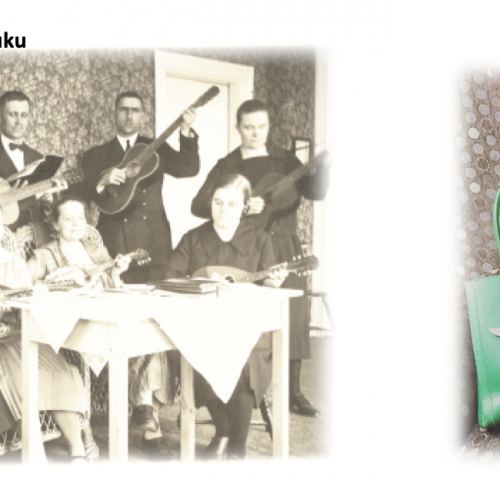 grafiikassa 1920-luvun soittajia esiintymässä.
